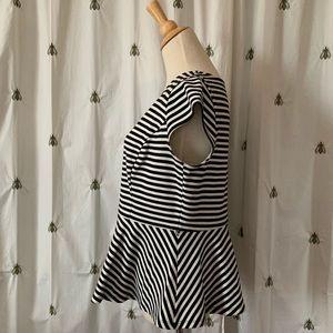Sweet Black and White Stripe Peplum Top, Elle, L